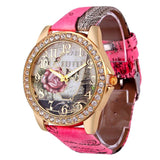 Rose Gold Womens PU Leather Metal Watch-womens wrist watch-Pink-Free Item Online