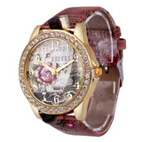 Rose Gold Womens PU Leather Metal Watch-womens wrist watch-Brown-Free Item Online