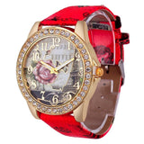 Rose Gold Womens PU Leather Metal Watch-womens wrist watch-Red-Free Item Online