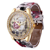 Rose Gold Womens PU Leather Metal Watch-womens wrist watch-White-Free Item Online