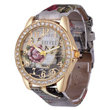 Rose Gold Womens PU Leather Metal Watch-womens wrist watch-Grey-Free Item Online