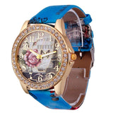 Rose Gold Womens PU Leather Metal Watch-womens wrist watch-Blue-Free Item Online