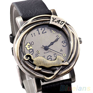 Cathy Women's Vintage Bronze Cat Leather Quartz Analog Wristwatch-watches-Free Item Online
