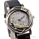 Cathy Women's Vintage Bronze Cat Leather Quartz Analog Wristwatch-watches-Black-Free Item Online