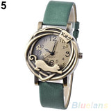 Cathy Women's Vintage Bronze Cat Leather Quartz Analog Wristwatch-watches-Green-Free Item Online