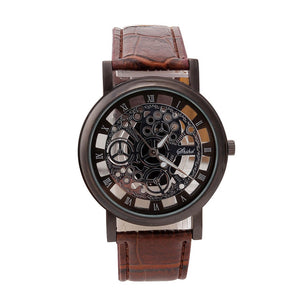 Bensap Mechanical Skeleton Watch Quartz Wristwatch Leather Band-watches-Free Item Online