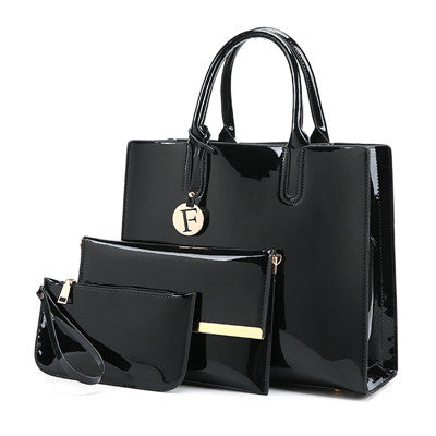 3PCS Emmy Women Luxury Patent Leather Purse Handbag Set-handbags sets-black 1-Free Item Online