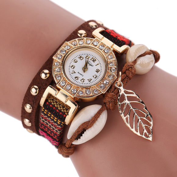 Fashion Women Leather Strap Braided Bracelet Quartz Wrap Around Wristwatch-womens wrist watch-Free Item Online
