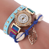 Fashion Women Leather Strap Braided Bracelet Quartz Wrap Around Wristwatch-womens wrist watch-Blue-Free Item Online
