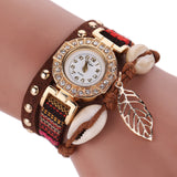 Fashion Women Leather Strap Braided Bracelet Quartz Wrap Around Wristwatch-womens wrist watch-Coffee-Free Item Online