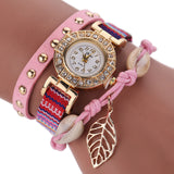 Fashion Women Leather Strap Braided Bracelet Quartz Wrap Around Wristwatch-womens wrist watch-Pink-Free Item Online