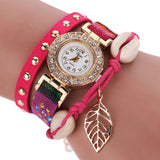 Fashion Women Leather Strap Braided Bracelet Quartz Wrap Around Wristwatch-womens wrist watch-Red-Free Item Online