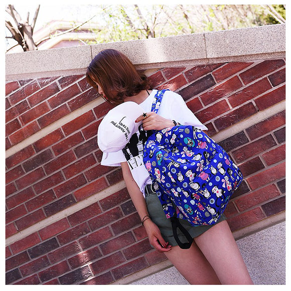Girls Cartoon Cat Printed School Bag Travel Rucksack Women Nylon Backpack-backpack-Blue-Free Item Online