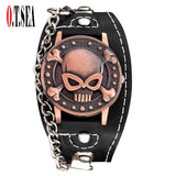 Cool Skull Leather Men fashion Sports Quartz Wrist Watch-men wrist watch-1-Free Item Online
