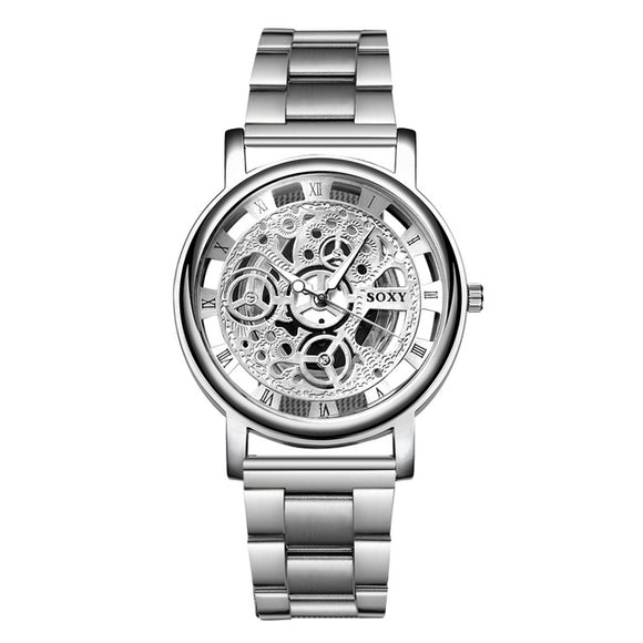 Skeleton Mechanical Men Quartz Wrist Watch-men wrist watch-Silver-Free Item Online