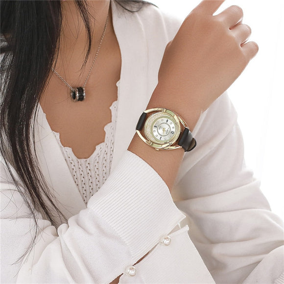 Delan Women PU Leather Quartz Wrist Watches-women watch-Free Item Online