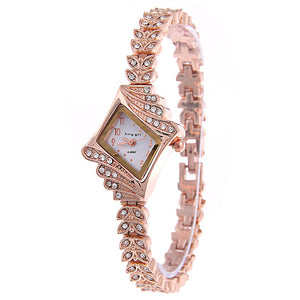 Women Rose Gold Petal Wrist Watch with Rhinestones-women watch-Free Item Online