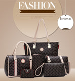 Jasmine Collections 6 PC Set Women Handbag Print Composite Bag-handbags sets-Free Item Online