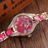 Geneva Floral Band Rhinestone Wrist Watch Women Bracelet-Women Wrist Watch-Free Item Online
