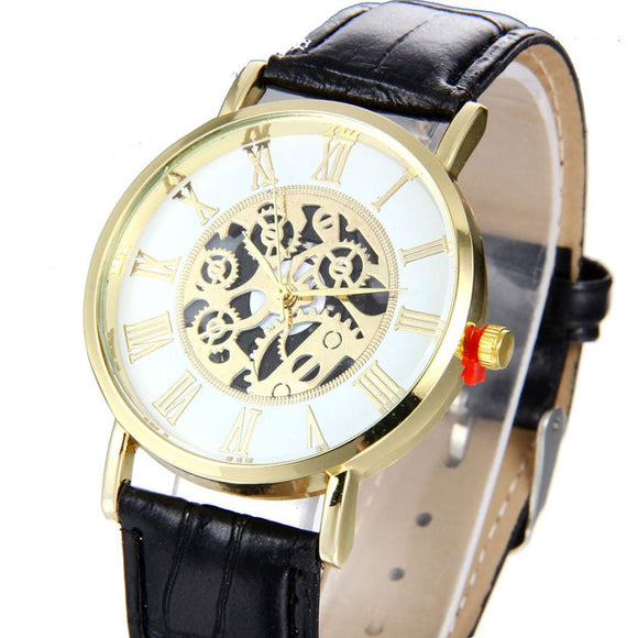 Luxury Fashion Women Skeleton Mechanical Wrist Watch with Leather Band.-watches-Free Item Online