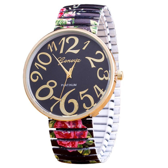 Geneva Elasticity Floral Quartz Women Wrist Watch-Women Wrist Watch-Free Item Online