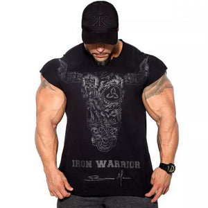 Ryan Body Builder Men Gyms Fitness Slim T-shirt Workout Cotton Tops-men workout tops-Free Item Online