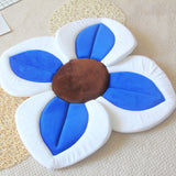 2 IN 1 Baby Lotus Plush Flower Bath And Play Mat 4 Or 7 Petals-baby bath accessory-Blue 4 petals-Free Item Online