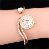 Gailis S - Shaped Wrist Watch Women Ultra Thin Bangle Bracelet-Women Wrist Watch-Rose Gold-Free Item Online