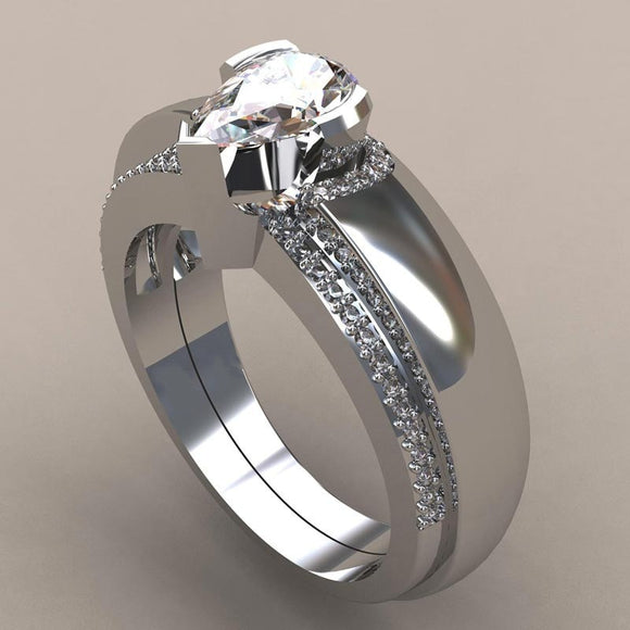 Crystal Wedding Ring Set Luxury 925 Silver Water Drop Engagement Ring-wedding and engagement rings-Free Item Online
