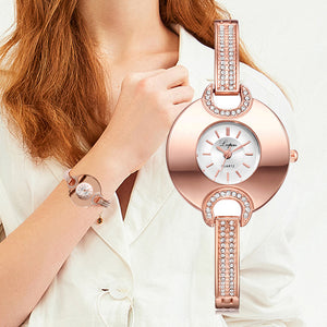 Luxury Women's Watch Fashion Bracelet Rhinestone Quartz Time piece-Women Wrist Watch-Rose Gold and White-Free Item Online
