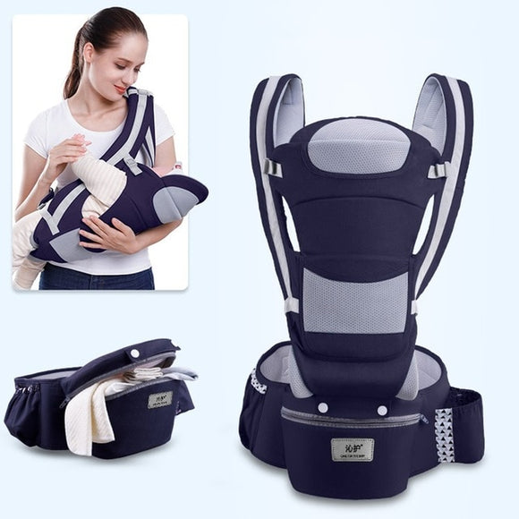 Ergonomic Baby Carrier Infant Hipseat Wrap Sling for Travel 0-48M-NAVY-Free Item Online