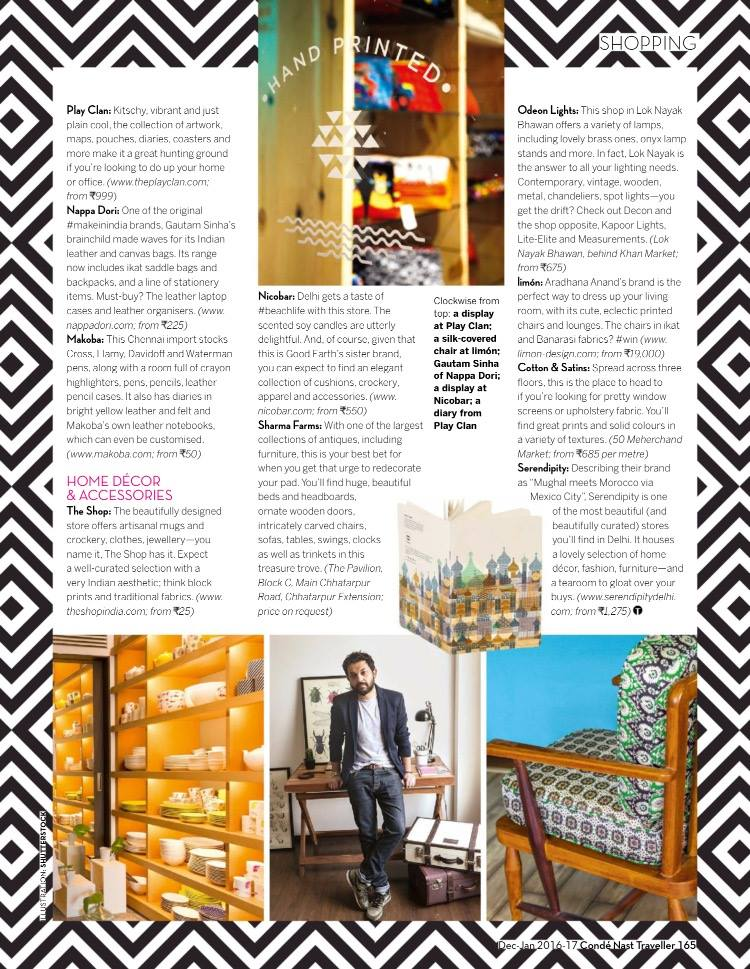 Conde Nast Traveller | December 2016 | the best of the capital city's indie stores for home decor