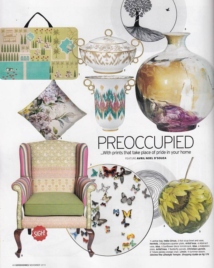 GoodHomes Magazine | November 2015 issue | Our Paisley Orange Tobias Wingback | in smashing company with IndiaCircus, arttd'inox, Hermès and Christian Lacroix.