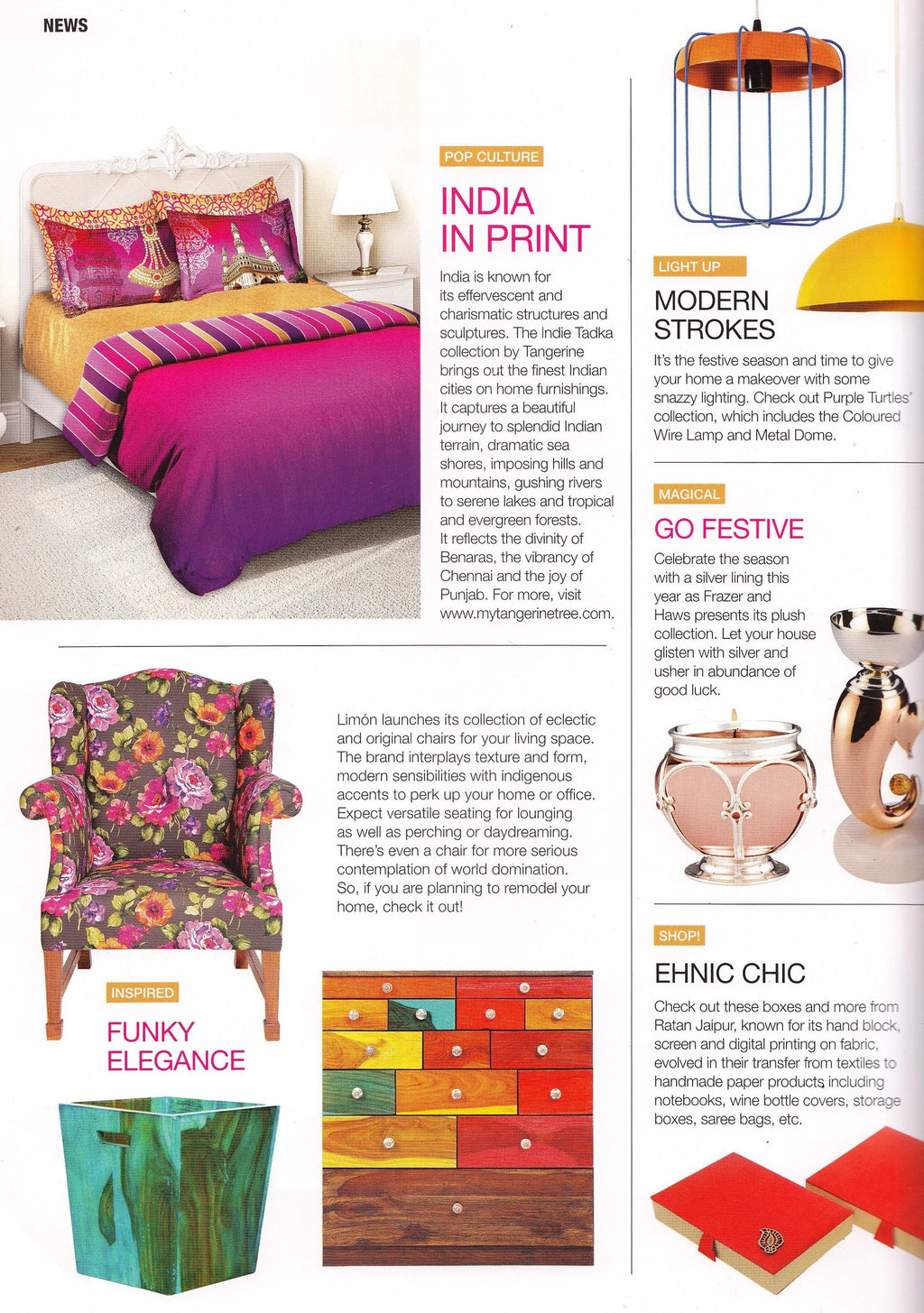 Casanova India | November 2015 edition | Our Floral Squash Daisy Wingback.
