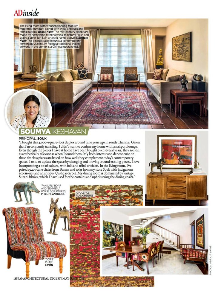 Architectural Digest | May-June 2016 issue | Blackberry Tribe Doris Slipper