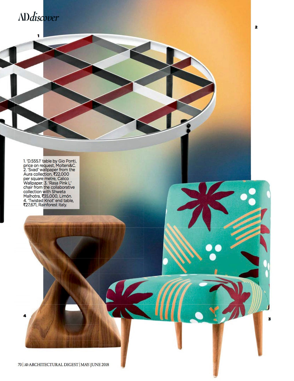 Architectural Digest India | May - June 2018 | Rasa Accent Chair L in Green