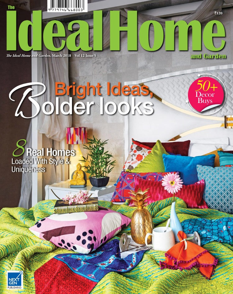 The Ideal Home and Garden India | March 2018 | Rasa Pink Cushion L + Sari Lumbar.