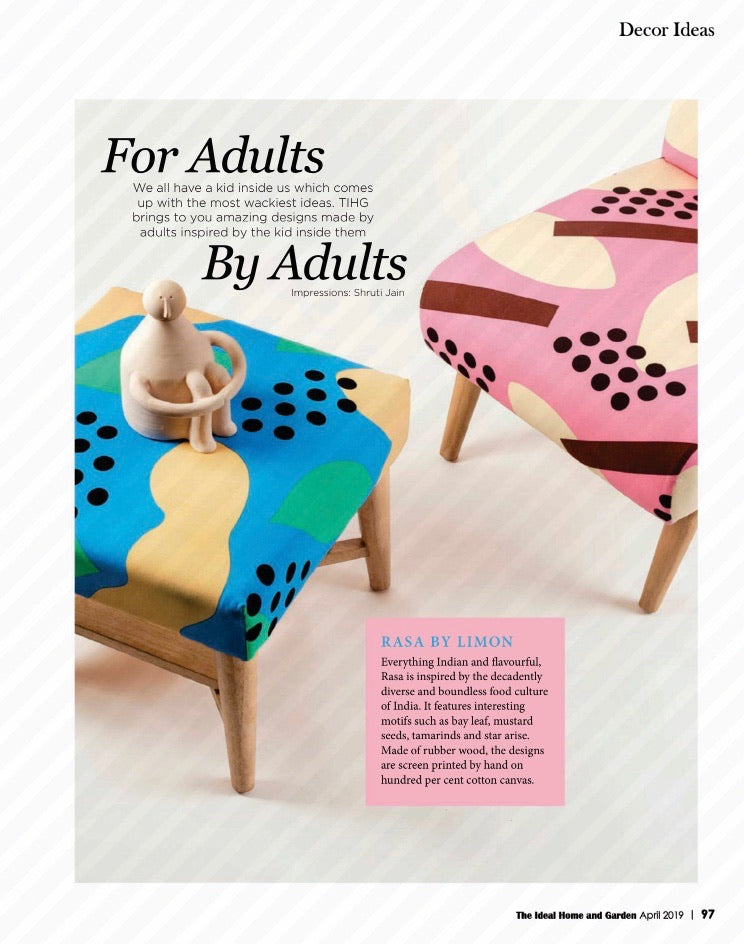 The Ideal Home and Garden | April 2019 | Rasa Chair L in Pink + Rasa Ottoman in Blue