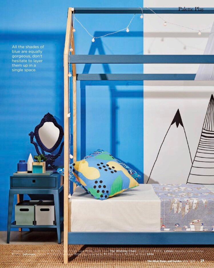 The Ideal Home and Garden | May 2019 | Rasa Cushion S in Blue