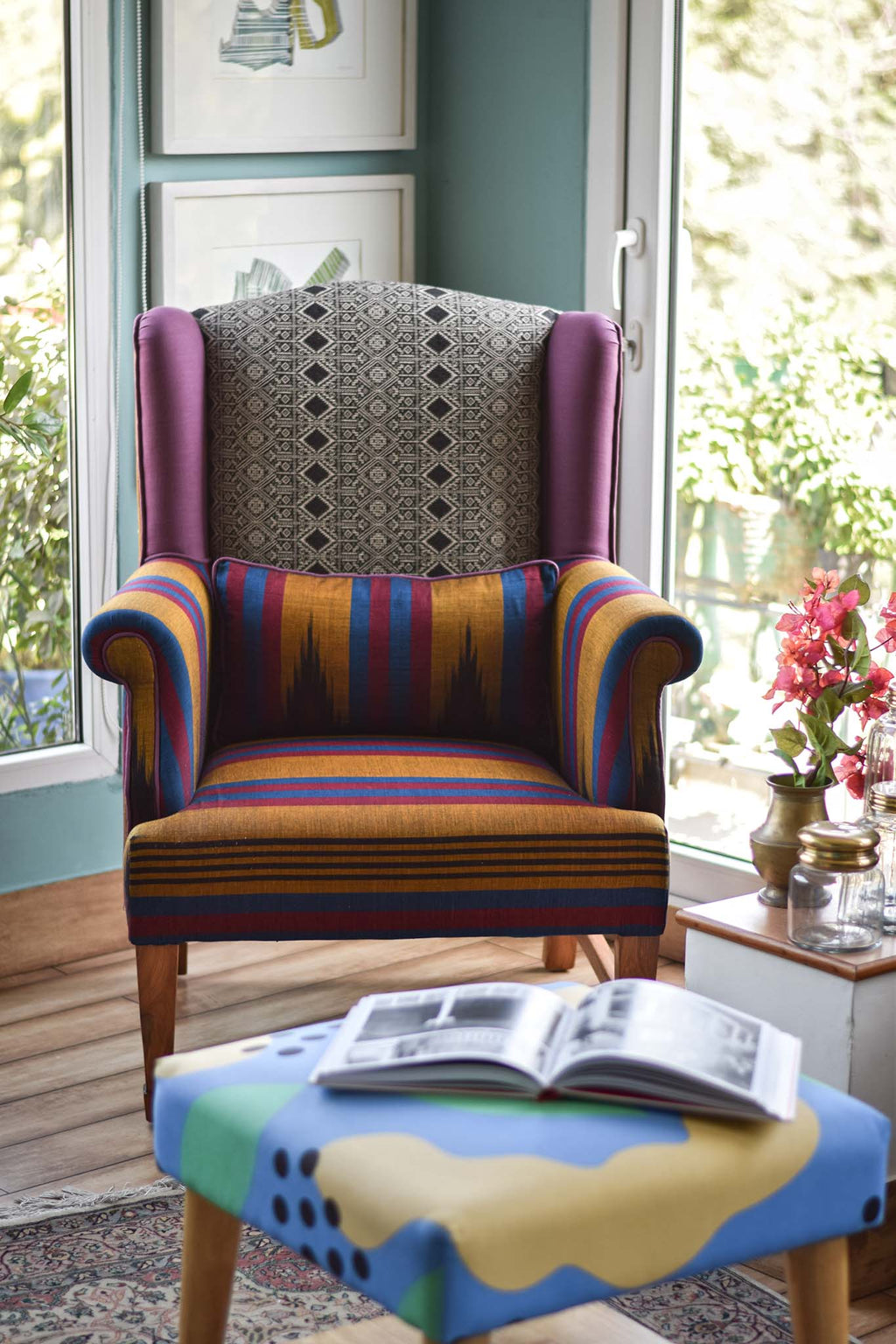 The Daisy Wingback | Mustard Stripe/Eggplant Ikat Sari edition