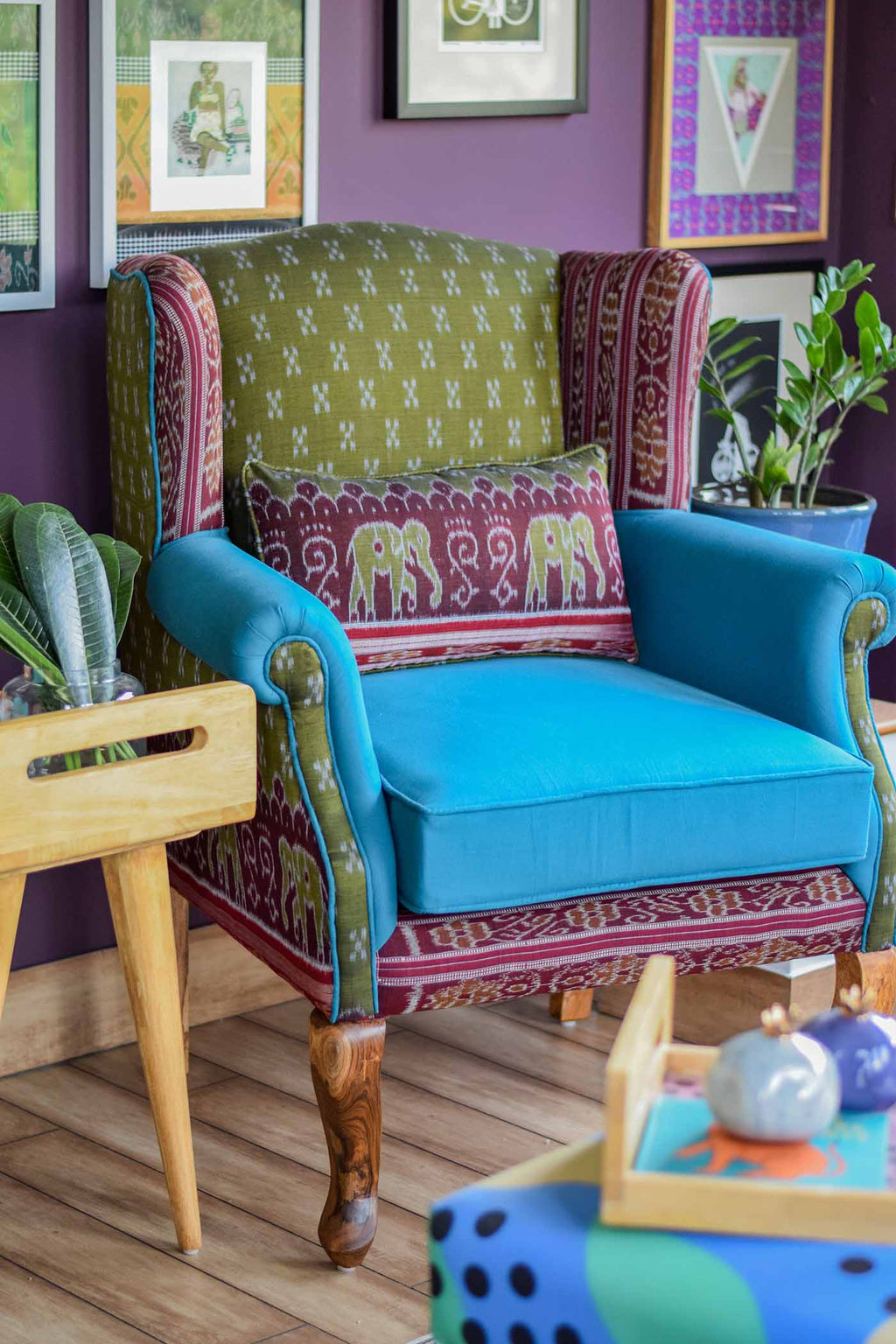 The Tobias Wingback | Olive Green + Eggplant / Teal Sambalpuri Sari edition