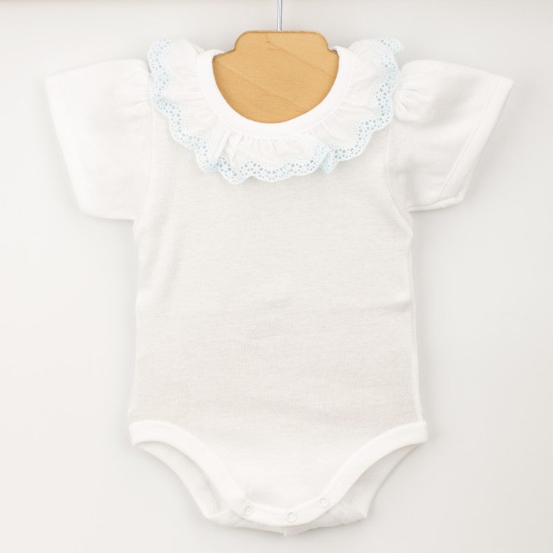 BABIDU White & Blue Frill Collar Bodysuit