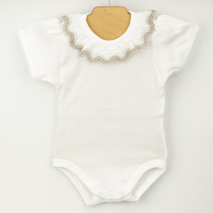 White & Grey Frill Collar Bodysuit