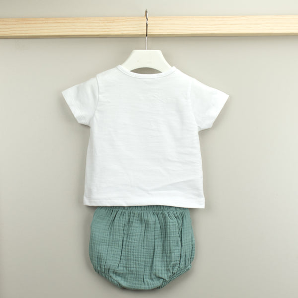Babidu White & Green Baby Boy Shorts Set