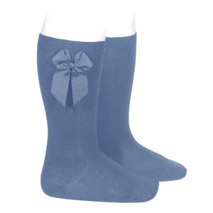 French Blue Condor Knee-High Sock with Bow