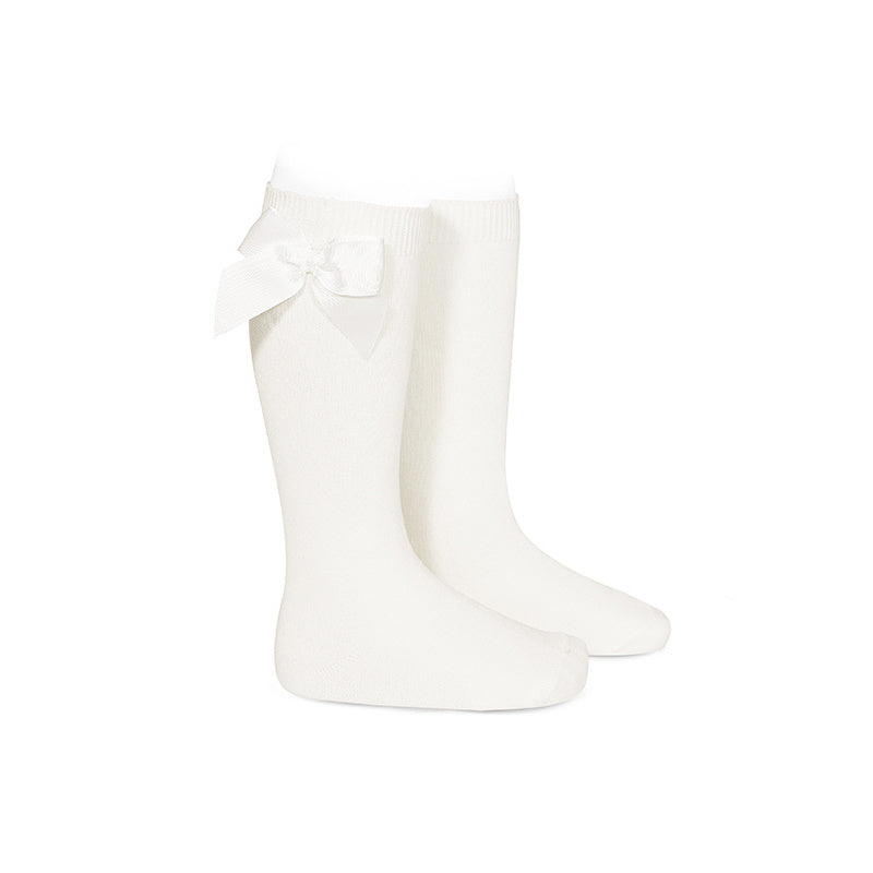 Ivory Condor Knee-High Sock with Bow