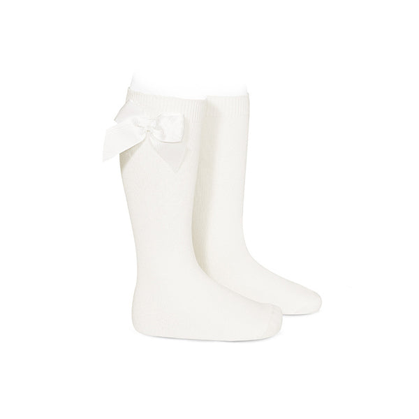 CONDOR Ivory Knee-High Sock with Bow