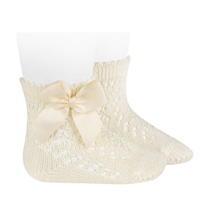 Cava Openwork Short Socks With Bow