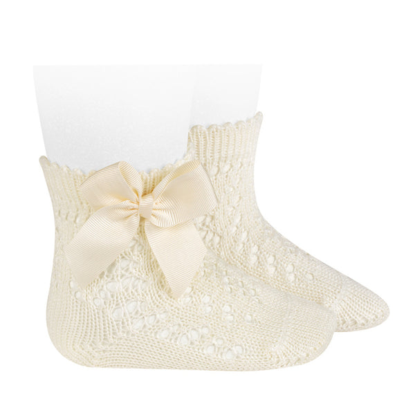 CONDOR Cava Openwork Short Socks With Bow