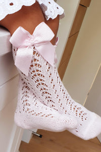CONDOR Pink Openwork Knee High Sock with Bow